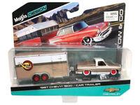 1987 Chevrolet Pickup Truck 1500 Gold and Car Trailer 1:64 Model - 1536