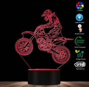 DIRTBIKE 3D LED Night Light 7 Colours Table Lamp MOTORCROSS LED Lamp