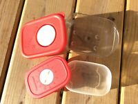 Lot Of 2 Tupperware 3387A Red Lid Rock Serve 1 Cup 4160C Freezer Safe 4 Oz. New