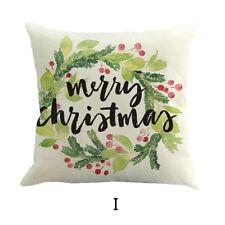 Xmas Pillow Case Flax Linen Soft Sofa Square Cushion Cover Home Office Decor