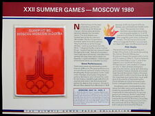 1980 SUMMER OLYMPICS XXII Moscow OLYMPIC GAMES PATCH INFO CARD ~ Willabee & Ward