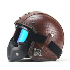 Brown Motorcycle Helmets 3/4 Open Helmet PU Leather + Goggle Mask Vintage Style