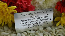 PERSONALISED ENGRAVED PET MEMORIAL PLAQUE PAWPRINTS SIDE SILVER 10X5CM (A04)