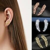 Luxury White Sapphire CZ Leaf Stud Earrings 925 Silver Womens Wedding Jewelry
