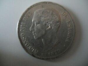 Spain 5 Pesetas 1875 silver coin in VF condition