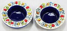 Dark Blue Turkish Hand Painted Ceramic Tealight Little Bowl  Set of 2