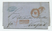 1851 Hamburg Germany to New York stampless transatlantic [H.523]