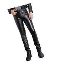 Moonwalk Men`s Faux PU Leather Skinny Black Biker Pants #11 W34
