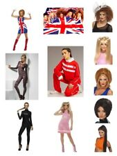 Womens Spice Girl Fancy Dress Costumes w Wig Scary Sporty Baby Ginger Posh Party