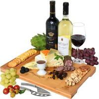 Unique Bamboo Cheese Board, Charcuterie Platter & Serving Tray for Wine, Crac...