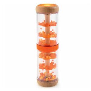 Djeco Piti Rain Orange Shaker - Baby Toddler Rainmaker Wooden Sensory Bead Toy