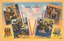 INDOOR ACTIVITIES CHECKERS WRITING HOME PATRIOTIC MILITARY POSTCARD (1940s)