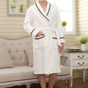 Homme Femme Peignoir Polaire Corail Tissu Éponge Robe de Chambre Pyjama Flanelle