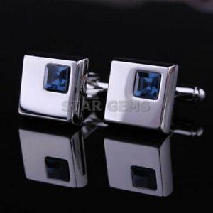 Natural London Blue Topaz Gemstone 925 Sterling Silver Cufflicks For Men's Gift