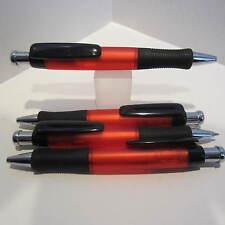 """4 TERZETTI MODEL """"HANDY"""" LARGE BARREL RED PLASTIC PENS-RUBBERIZED GRIP"""