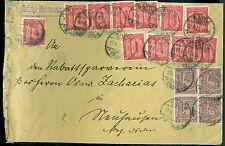 Brief mit 17 Dienstmarken darunter 4er Block Sayda Erzgebirge 1922 Infla Stempel