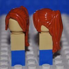 LEGO PARTS DARK ORANGE HAIR PIECE/GIRL MINIFIGURE WIG/LONG PONYTAIL/SIDE BANGS B