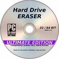 Erase wipe format delete hard drive Eraser CD for PC &Laptop computer Window 10