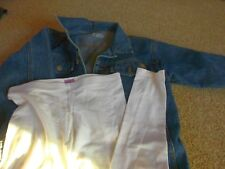 BLUE DENIM JACKET WHITE LEGGINGS AGE 10 11 12 BUNDLE KIDS CLOTHES