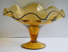 """Large Amber Glass Footed Compote ~ Bowl Candy Dish 6 1/4"""" Tall x 10 3/8"""" Wide"""