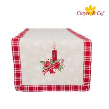 Clayre & Eef Tischläufer Tischdecke Weihnachten mit Kerzenstickerei