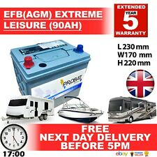 12V 90AH EFB AGM LEISURE BATTERY HEAVY DUTY LOW HEIGHT (90 AH AMP) 85 AMP 88
