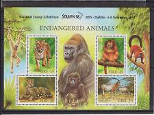 UMM MNH STAMP SHEET 1998 IRELAND EIRE ENDANGERED ANIMALS SG MS1205 OPTD STAMPA