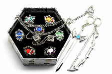 Katekyo Hitman Reborn Cosplay 7 Vongola Family Gem Rings Necklace and Keyrings