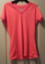 Under Armour Women's V Neck Semi Fit Heat Gear  Short Sleeve Neon Orange XS