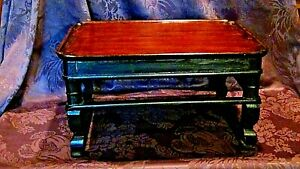ANTIQUE KOREAN WOOD BLACK- BROWN LACQUERED LOW TEA TABLE