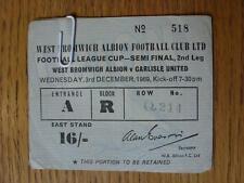 03/12/1969 Ticket: Football League Cup Semi-Final - West Bromwich Albion v Carli