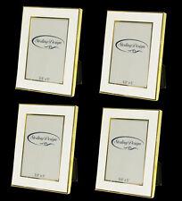 """3.5"""" x 5"""" White/Gold Edge Metal Photo Frames - Set of 4!"""
