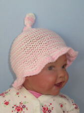 PRINTED INSTRUCTIONS- BABY SIMPLE STRIPE TOPKNOT SUNHAT HAT KNITTING PATTERN