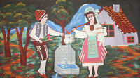 VINTAGE NAIVE ART PORTRAIT OIL PAINTING COUPLE WITH FOLK COSTUMES