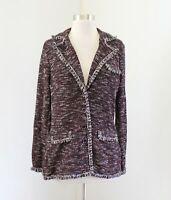 Brooks Brothers Burgundy Black White Tweed Fringe Sweater Blazer Jacket Size M