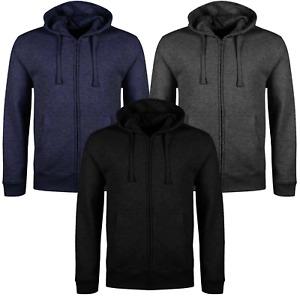 Mens Fleece Hoodie Zip Up Hooded Sweatshirt Top Plain Hoody Jumper Jacket NEW