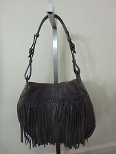 ORYANY SOFT NAPPA LEATHER JOSIE FRINGE HOBO BAG PURSE TOTE NEW GREY GRAY