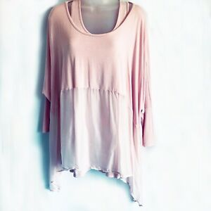 Pink Stretch Floaty Double Top with Silk Lower Section three-quarter sleeves