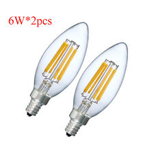 2-pack Dimmable E12 C35 6W=60W LED Candle Light Filament Bulb Warm White 2700K