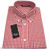 Relco Mens Red White Gingham Short Sleeved Shirt Button Down Mod Skin Retro New