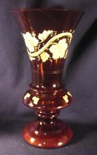 Bohemeian ruby glass vase enameled Antique grape pattern two tone B3