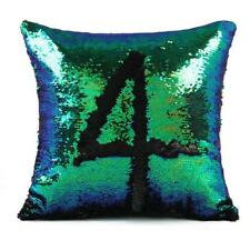 "16"" Mermaid Pillow Cover Cushion Case Reversible Sequin Magic Swipe Sofa Decor"