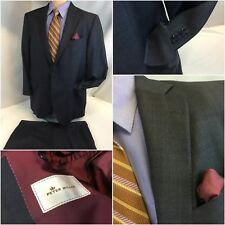 Peter Millar Bespoke Suit 42R Gray Plaid 2b 1v 38x29 Flat 42 R Mint YGI E8-691