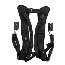 Double Shoulder Black Sling Strap For 2 Camera Cameras SLR DSLR Camcorder Nikon