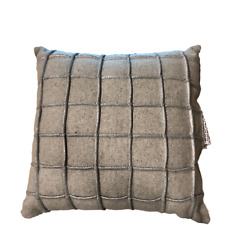 NEW Threshold Flannel Wool Square Grid Decorative Throw Pillow - Grey - 18x18