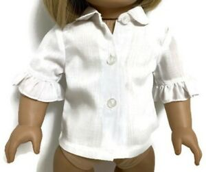 """White Blouse Shirt Top with Ruffled Sleeves for 18"""" American Girl Doll Clothes"""
