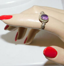 Dainty Silver Ring with Violet Purple Glass Cabochon size 6.5 Ring 1d 16