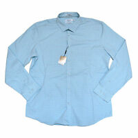 Calvin Klein Mens Dress Shirt Classic Fit Button Up Point Collar Blue Medium Nwt