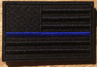 SWAT POLICE LAW ENFORCEMENT THIN BLUE LINE USA FLAG HOOK PATCH