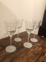 4 CRYSTAL CLEAR INDUSTRIES VALERIE FROSTED STEM SWIRL OPTIC WINE GOBLETS